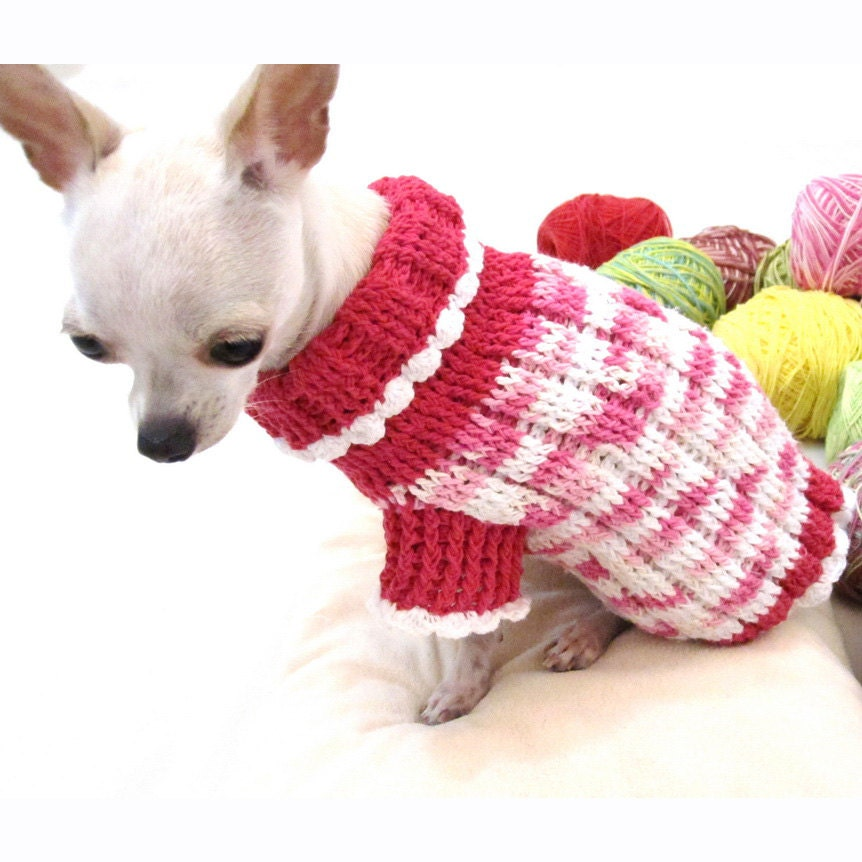 Dog sweaters pink teacup chihuahua clothes puppy by myknitt - Dog clothes for chihuahuas ...