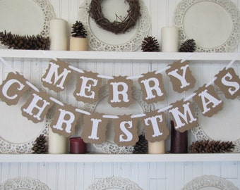 MERRY CHRISTMAS Banner for the Holiday Season, Farmhouse Christmas, Christmas Sign