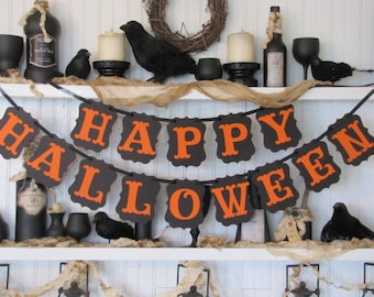 HAPPY HALLOWEEN Banner, Halloween Sign,  Halloween Decoration, Fall Sign, Fall Decoration, Autumn Decoration