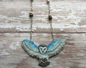 Owl with Labradorite// Sculpted Animal Necklace