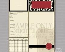 16x20 Red Damask Child Message Center (JPEG Digital File) - Instant Download - You Print - You Frame