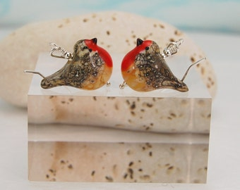 Lampwork Robin earrings set on sterling silver