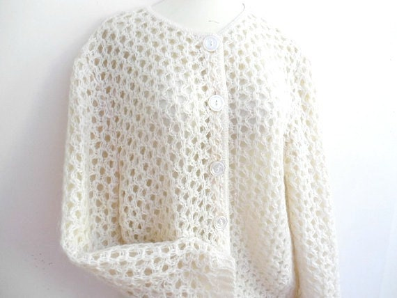 Wonderful Cream Mohair Lined Cardigan Sweater by It's Pure Gould