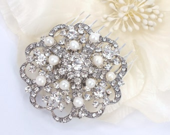 Spring Camellia - Vintage style Rhinestone and Freshwater pearl Bridal Hair Comb
