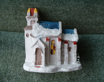 Vintage Dickens Christmas, Handpainted Cold Cast Cottage, Town Church, One Individual Piece