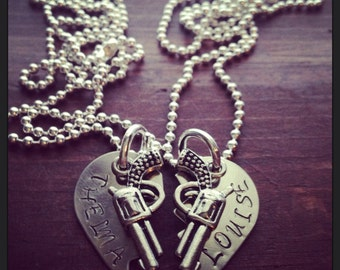 Silver Broken Hearts Stamped Thelma and Louise Attached to Silver Chains (Set)