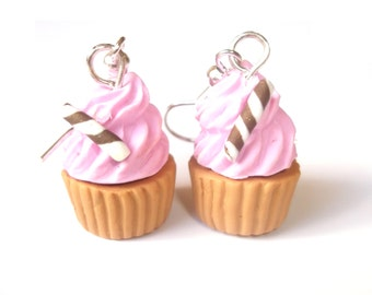 Miniature Cupcake Earrings ( polymer clay food miniature food miniature jewelry pastel earrings kawaii jewelry cute cupcake jewelry kids )