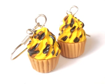 Yellow Cupcake Earrings Polymer Clay ( chocolate funky jewelry kawaii miniature food cupcake jewelry summer earrings cute kids earrings )