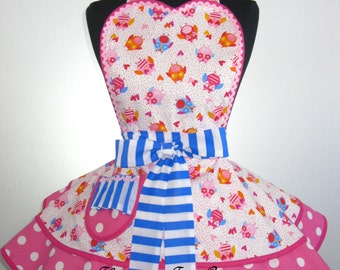 Flirty Pink Polka Dot Owl Apron -only one left in stock