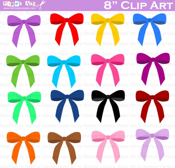Bows Clip Art Digital Clipart Birthday Party Scrapbooking Supplies Printable