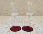 Vintage Etched Clear Glass Cordial Glasses A Set Of 2.