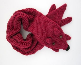 Hand knit fox scarf in deep red with polymer clay buttons