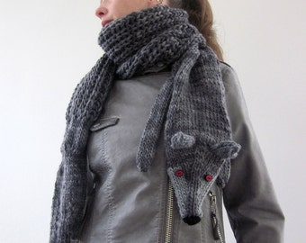 Hand knit long wolf scarf in grey black with polymer clay buttons, grey black wolf, animals scarf.