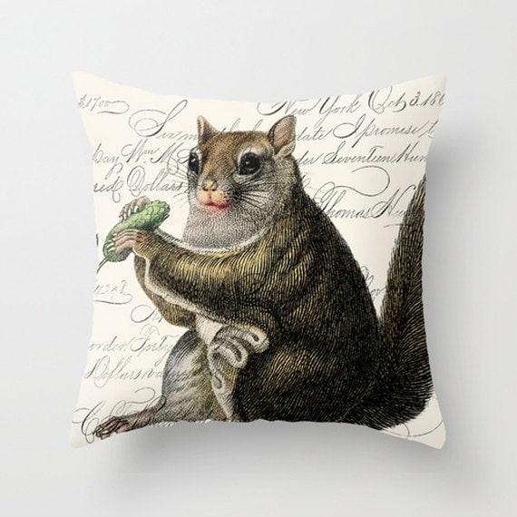 Items similar to Throw Pillow Cover - Fat Cute Squirrel on Vintage Ephemera - 16x16, 18x18 ...