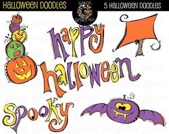 Halloween Clipart Digital Halloween Clip Art Halloween Doodle Whimsical Clipart Halloween Party Digital Clipart - Instant Download