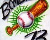 Airbrush T Shirt Baseball And Bat With Name Number, Airbrush Baseball Shirt, Baseball Shirt, Airbrush Shirt, Airbrush T Shirt, Airbrush