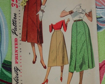 Vintage Pattern c.1953 Simplicity No.4414 Skirt, Size Waist 28