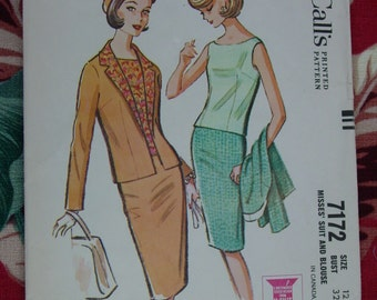Vintage Pattern c.1963 McCall's No..7172 Suit and Blouse, Size 12