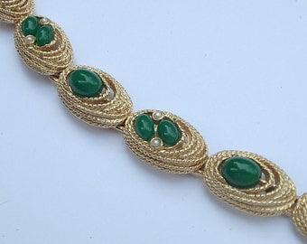 Vintage Art designer bracelet, shiny gold enamel bracelet, green and gold bracelet, green wedding jewelry, bridesmaid jewelry