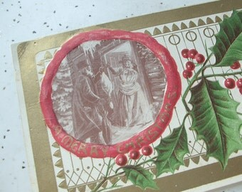 Antique Christmas postcard, red gold green, Victorian scene, A Merry Christmas goose, holly leaves, embossed