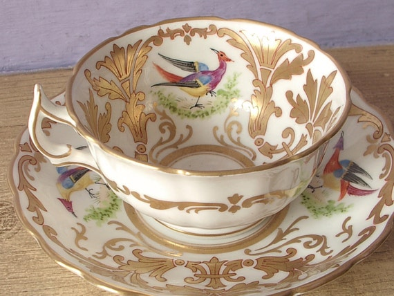 Antique 1890's Sutherland Victorian tea cup set, bird tea cup and saucer, gold and white china tea cup set, English tea set, antique tea cup
