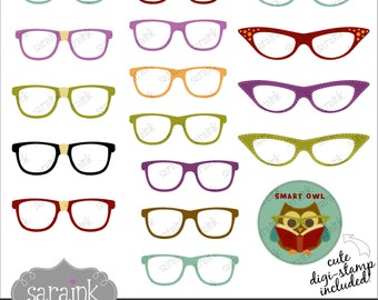 Eyeglasses Clipart Download - Nerdy, Cateye and Superman Glasses Cute digital clip art for Personal and Commercial Use