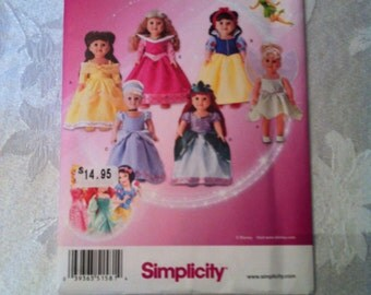 Simplicity Pattern 1581 Disney Princess Designs for 18 Inch Dolls NEW Uncut