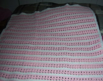 Pink and White Striped Baby Blanket