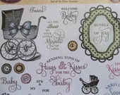 Vintage Style Baby Rubber Stamps Bundle of Joy Labels - 30 Stamps with Text, New Baby Sayings, Carriages, Footprints & Frames (287306)