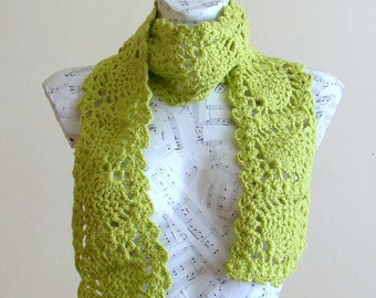 SALE Handmade Crochet Pineapple Scarf Greenery Wool Yarn winter accessory woman fashion long scarf machine washable ready for shipping