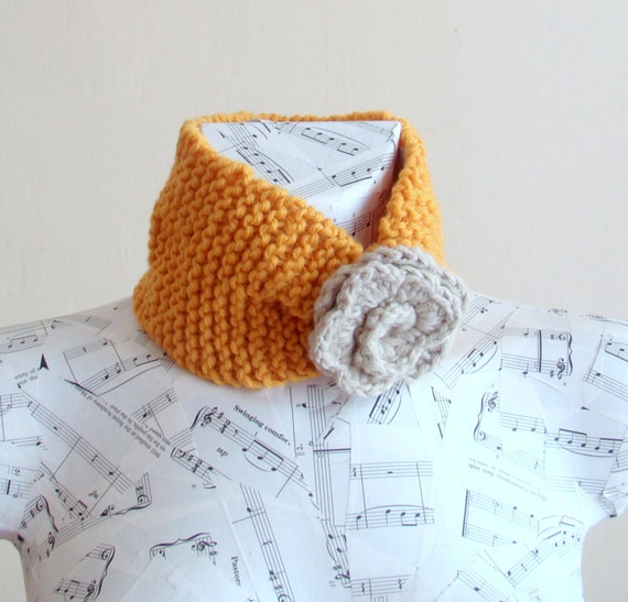 HALF PRICE SALE Handknitted mustard ear warmer or headband with rose. Rustic woman hair accessories. Ready for shipping