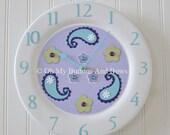 Childrens Clocks . Wall Clocks. Custom Clocks. Nursery Clocks . Solid Wood . Matching Name Blocks . Lavender Aqua Purple . Paisley Flowers