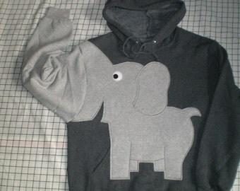 Trunk sleeve elephant HOODIE. elephant sweatshirt.  elephant shirt. Charcoal Grey UNISEX Medium, back to school, halloween costume, cosplay