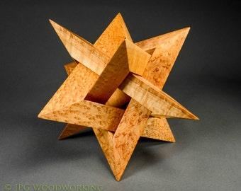 Geometric Star wood sculpture, bird's eye Maple
