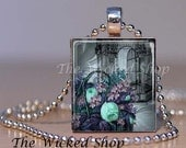 Scrabble Tile Pendant - Vintage Bird Cage with Blue and Purple  Flowers -Free Silver Plated Ball Chain (BIRDCAGE1)