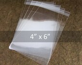 "Clear Cello bags, Resealable plastic bags, Wedding Favor Bags, jewelry packaging, cookie bags, candy bags, self adhesive bags, 4"" x 6"", 100"