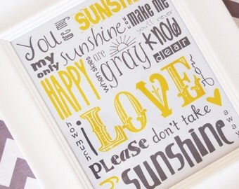 SALE* You Are My Sunshine Subway Art Print 8X10 Multiple Colors Available