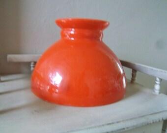 "Orange Milk Glass 8"" Student Lamp Shade"