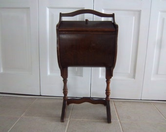 Large Vintage Antique Wooden Sewing Tote