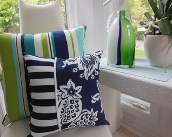 Designer Pillow - Navy Flora Decorative Pillow - Reversible 15 x 15 Inch - Navy and White Pillow - Stripes and Polka Dots