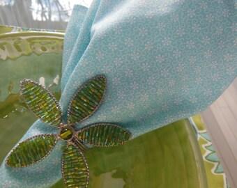 Aqua Cloth Napkins - Set of Four - Small Aqua Flower Design Napkins by Pillowscape Designs - Aqua and White