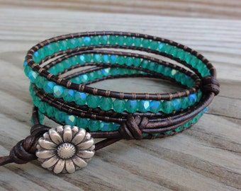 Leather Wrap Bracelet Matte Green AB Firepolished Faceted Czech Glass Triple Beaded