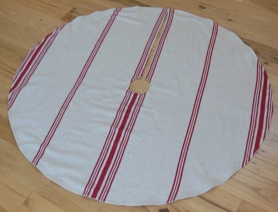 Old World Christmas Tree Skirt French Grain Sack Stripe Red