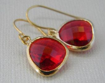 Ruby earring - Ruby Red Dangle Earrings in Gold - Bridal - Wedding - Bridesmaid Gift - bridesmaid earrings - Christmas gift