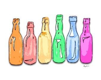 Bottles Art Print on Cardstock