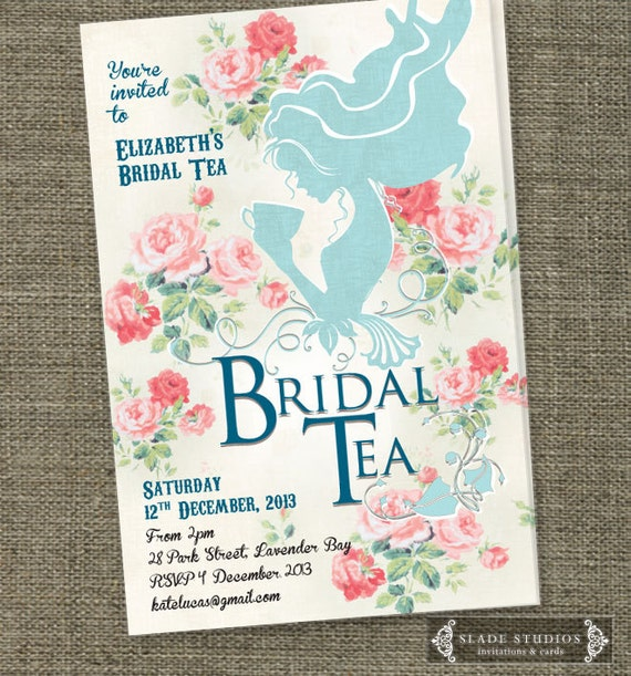 Vintage bridal tea invitations with shabby chic floral detail for Kitchen tea ideas jhb