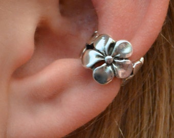 Plumeria Ear Cuff - Sterling Silver - SINGLE SIDE