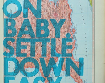 England and Wales / Ramble On Baby. Settle Down Easy. / Letterpress Print on Antique Atlas Page
