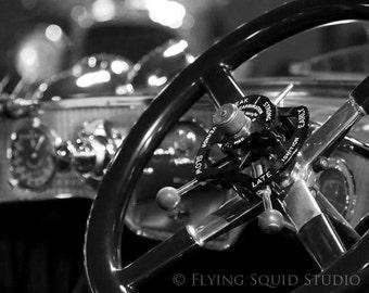 Classic Car Photo:10x8 B&W (or Color) Photograph of a 1921 Rolls Royce Silver Ghost Steering Wheel/Dash. Antique Car Art, Vintage Car Art