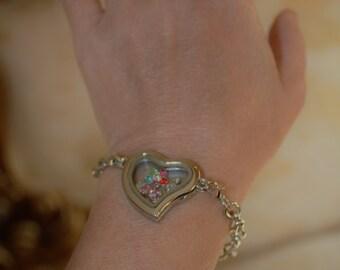 Floating locket, memory locket, glass locket, locket bracelet, personalized locket, Personalized Memory Locket